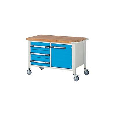 EUROKRAFT Werkbank, fahrbar, 3 Schubladen, 1 Tür