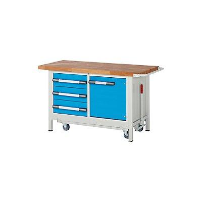 EUROKRAFT Werkbank, fahrbar, 3 Schubladen, 1 Tür, absenkbar