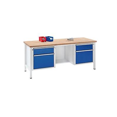 ANKE Werkbank, stabil, Schubladen 2 x 180 mm, 2 x 360 mm, ½ Ablageboden, Höhe 890 mm