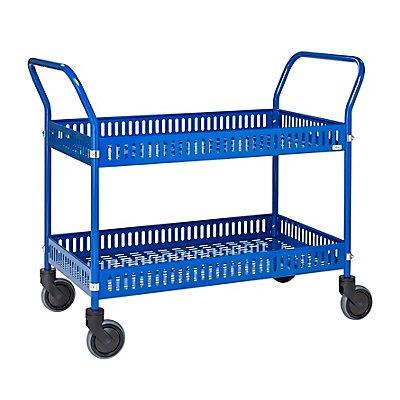 Kongamek Verkaufswagen - mit 2 Böden und 4 Lenkrollen - blau