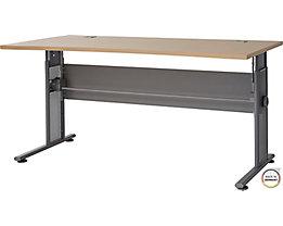 """Certeo Schreibtisch mit C-Füßen """"Bern"""" HxBxT 700 x 800 x 1600 x 800 mm, silber-ahorn"""