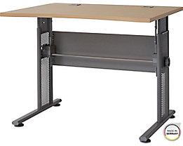 """Certeo Schreibtisch mit C-Füßen """"Bern"""" HxBxT 800 x 1000 x 800 mm, silber-ahorn"""