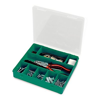 Sortimentsbox mit diversen Fächern - unbestückt - HxBxT 215 x 207 x 42 mm