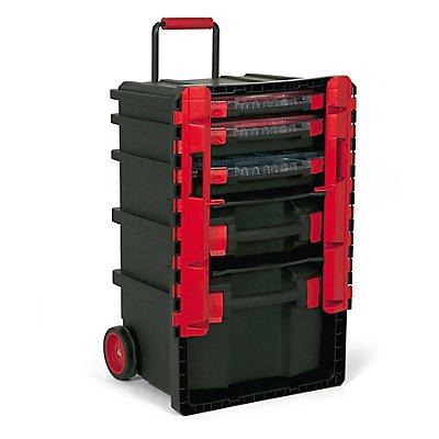 Rollbarer Werkzeugtrolley mit 5 herausnehmbaren Koffern - HxBxT 500 x 410 x 770 mm