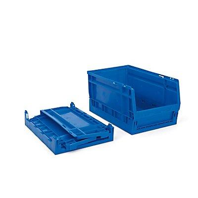 Faltbarer Sichtlagerkasten 11 Stück - 8,5 Liter, blau - HxBxT 336 x 216 x 175 mm