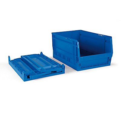 Faltbarer Sichtlagerkasten 11 Stück - 15 Liter, blau - HxBxT 420 x 270 x 200 mm