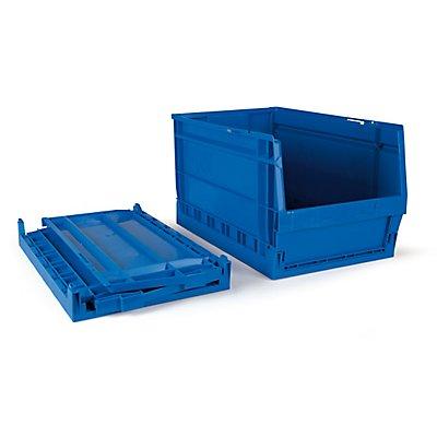 Faltbarer Sichtlagerkasten 8 Stück - 30 Liter, blau - HxBxT 500 x 303 x 275 mm