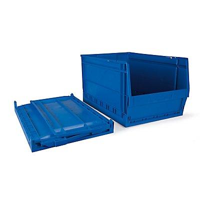 Faltbarer Sichtlagerkasten 6 Stück - 55 Liter, blau - HxBxT 600 x 400 x 325 mm
