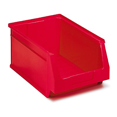 Schwerlastregal mit 40 roten Sichtlagerkästen im Set - HxBxT 1780 x 1200 x 400 mm