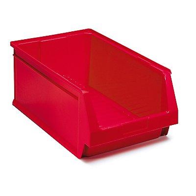 Schwerlastregal mit 24 roten Sichtlagerkästen im Set - HxBxT 1800 x 1200 x 600 mm