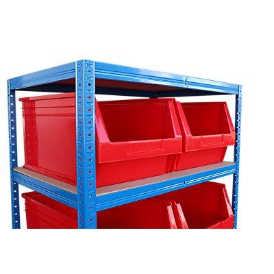 Schwerlastregal mit 8 roten Sichtlagerkästen im Set - HxBxT 1780 x 900 x 600 mm