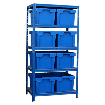 Schwerlastregal mit 8 blauen Stapelkisten im Set - HxBxT 1780 x 900 x 600 mm