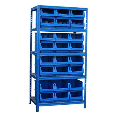 Schwerlastregal mit 24 blauen Sichtlagerkästen im Set - HxBxT 1780 x 900 x 600 mm