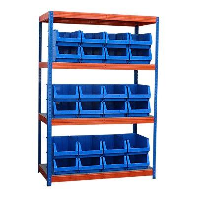 Schwerlastregal mit 24 blauen Sichtlagerkästen im Set - HxBxT 1800 x 1200 x 600 mm