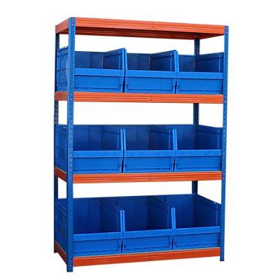 Schwerlastregal mit 9 blauen Sichtlagerkästen im Set - HxBxT 1800 x 1200 x 600 mm