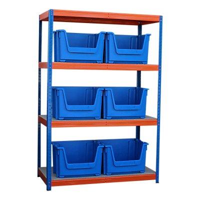 Schwerlastregal mit 6 blauen Sichtlagerkästen im Set - HxBxT 1800 x 1200 x 600 mm