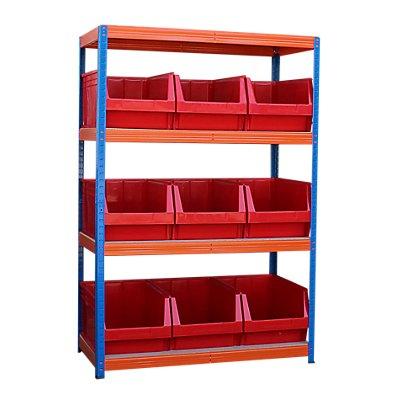 Schwerlastregal mit 9 roten Sichtlagerkästen im Set - HxBxT 1800 x 1200 x 600 mm