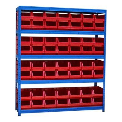 Schwerlastregal mit 56 roten Sichtlagerkästen im Set - HxBxT 1780 x 1500 x 450 mm