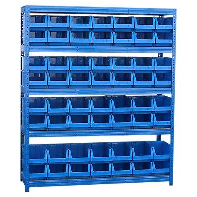 Schwerlastregal mit 56 blauen Sichtlagerkästen im Set - 1780 x 1500 x 450 mm