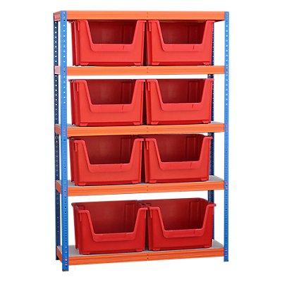 Schwerlastregal mit 8 roten Sichtlagerkästen im Set - HxBxT 1780 x 1200 x 400 mm