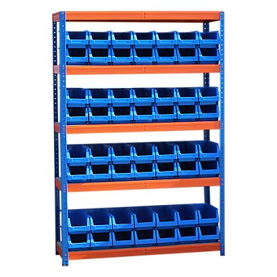 Schwerlastregal mit 56 blauen Sichtlagerkästen im Set - HxBxT 1780 x 1200 x 400 mm
