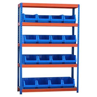 Schwerlastregal mit 16 blauen Sichtlagerkästen im Set - HxBxT 1780 x 1200 x 400 mm