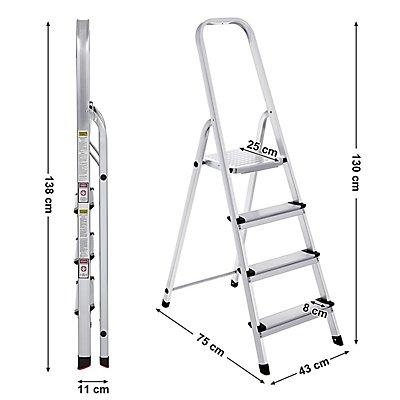 SONGMICS Alu Klapptritt Leiter - Gesamthöhe 1300 mm / Plattformhöhe 780 mm / Tragkraft bis zu 150 kg
