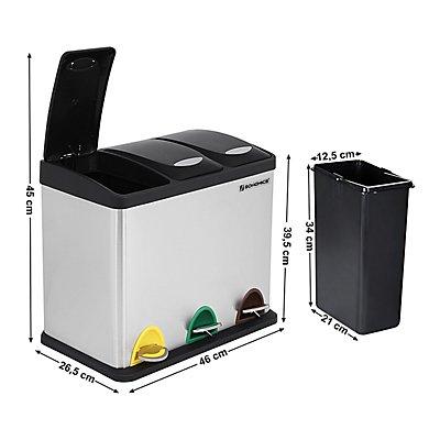 SONGMICS Tret-Abfalleimer aus Edelstahl - 3 Mülleimer je 8 Liter