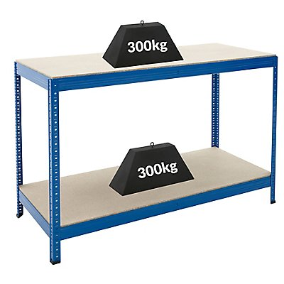 Établi à hauteur réglable – Charge max. par tablette: 300 kg – H x L x P 900 x 1400 x 600 mm