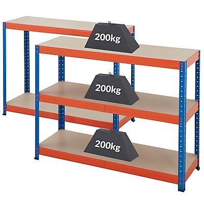 Stabiles Lagerregal - Tragkraft bis zu 265 Kg pro Fachboden - HxBxT 1780 mm x 1200 mm x 400 mm