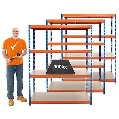 Mega Deal | 3x Schwerlastregal - Tiefe 60 cm | 300 kg pro Fachboden