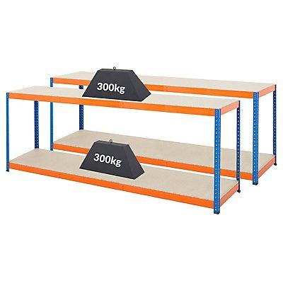 Mega Deal | 3x Schwerlastregal - Tiefe 45 cm | 300 kg pro Fachboden