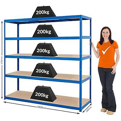 Rayonnage de stockage – Solide - Charge max. par étagère: 265 kg