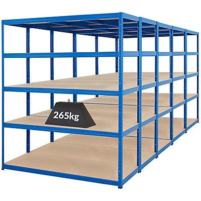 Mega Deal | 5x Schwerlastregal – Tiefe 60 cm - 265 kg pro Fachboden