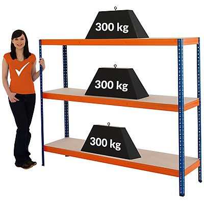 Mega Deal   4x Schwerlastregal - Tiefe 45 cm - 300 kg pro Fachboden