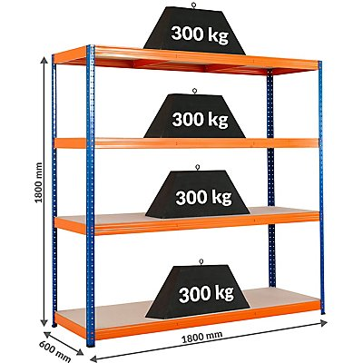 Mega Deal | 2x Schwerlastregal - Tiefe 60 cm - 300 kg pro Fachboden
