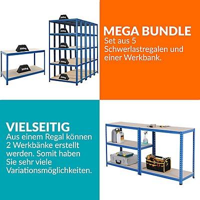 Mega Deal | 5x Schwerlastregal und 1x Werkbank - Tiefe 30 cm