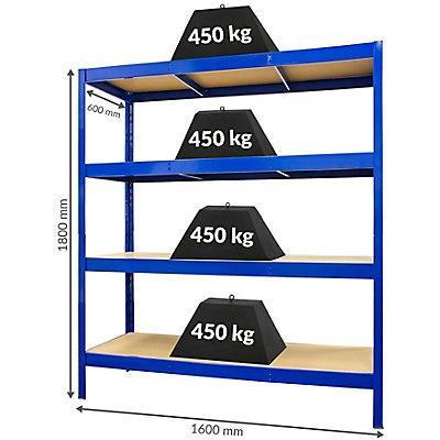 Mega Deal   4x Schwerlastregal - Tiefe 60 cm - 450 kg pro Fachboden