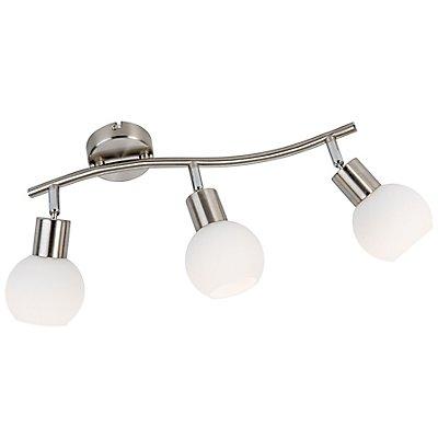Nino Balkenleuchte LOXY mit LED-Spots - Opalglas, Nickel