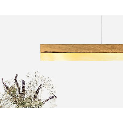 GANTlights Pendelleuchte aus Eichenholz und Messingblech, dimmbar