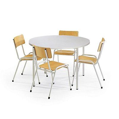 Protaurus Tisch-Stuhl-Kombination   Runder Tisch + 4 Stapelstühle   Buche