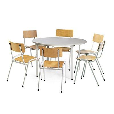Protaurus Tisch-Stuhl-Kombination | Großer, runder Tisch + 6 Stapelstühle | Buche