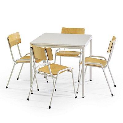 Protaurus Tisch-Stuhl-Kombination | Quadratischer Tisch + 4 Stapelstühle | Buche
