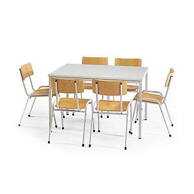 Protaurus Tisch-Stuhl-Kombination | Tisch + 6 Stapelstühle | Buche