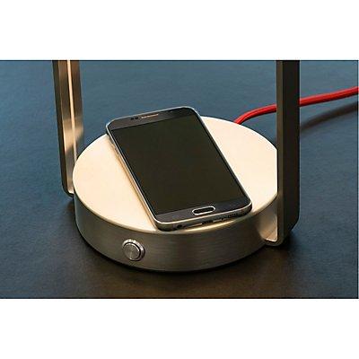 BRENDA, Tischleuchte + WL USB,LED, weiss/ silber