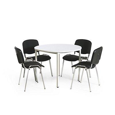 Protaurus Tisch-Stuhl-Kombination | Runder Tisch + 4 Konferenzstühle