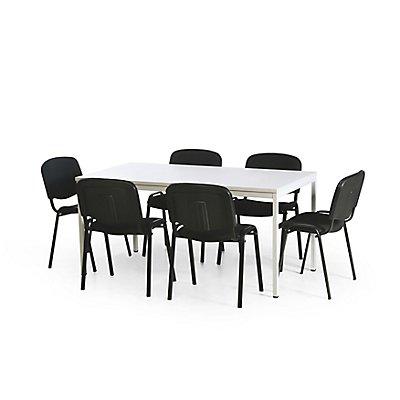 Protaurus Tisch-Stuhl-Kombination | Großer Tisch + 6 Konferenzstühle