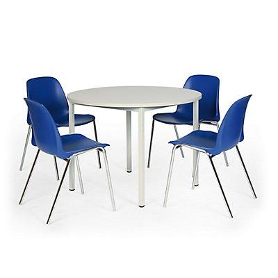 Protaurus Tisch-Stuhl-Kombination | Runder Tisch + 4 Stapelstühle | Blau