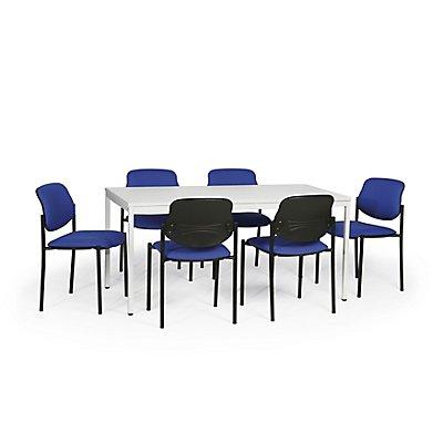 Protaurus Tisch-Stuhl-Kombination | Großer Tisch + 6 Besucherstühle