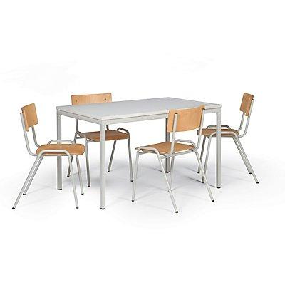 Protaurus Tisch-Stuhl-Kombination | Tisch + 4 Stapelstühle | Buche